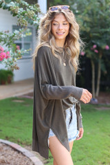 Oversized Knit Top in Olive Side View