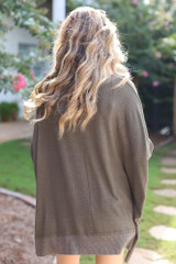 Oversized Knit Top in Olive Back View