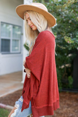 Oversized Knit Top in Rust Side View