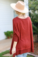 Oversized Knit Top in Rust Back View