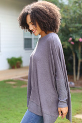 Oversized Knit Top in Charcoal Side View