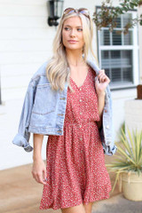 Red - Floral Button Front Dress from Dress Up