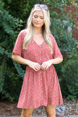 Model wearing a Floral Button Front Dress
