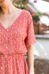 Close Up of a Floral Button Front Dress