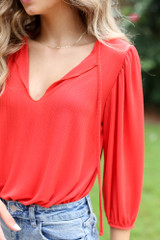 Red - Textured Bodysuit from Dress Up