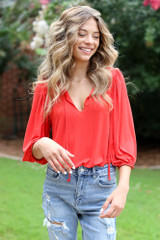 Textured Bodysuit in Red Front View
