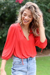 Textured Bodysuit in Red Side View