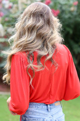 Textured Bodysuit in Red Back View