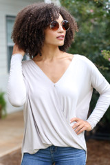Taupe - Model wearing a Surplice Top
