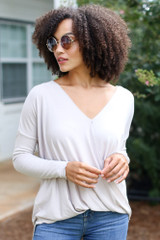 Taupe - Dress Up model wearing a Surplice Top