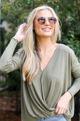 Olive - Model wearing a Surplice Top with skinny jeans