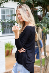 Surplice Top in Black Side View