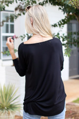 Surplice Top in Black Back View