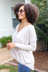 Surplice Top in Taupe Side View