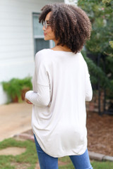 Surplice Top in Taupe Back View