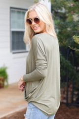 Surplice Top in Olive Side View