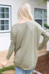 Surplice Top in Olive Back View