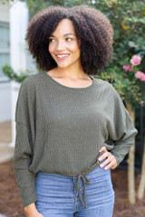 Olive - Model wearing a Ribbed Knit Top