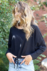 Ribbed Knit Top in Black Side View