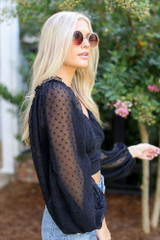 Swiss Dot Cropped Blouse in Black Side View