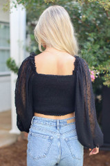 Swiss Dot Cropped Blouse in Black Back View
