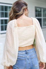 Swiss Dot Cropped Blouse in Ivory Back View