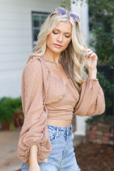 Swiss Dot Cropped Blouse in Taupe Side View