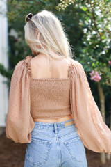 Swiss Dot Cropped Blouse in Taupe Back View