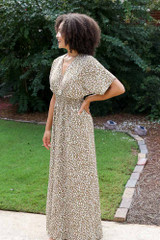 Smocked Leopard Maxi Dress Side View