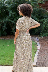Smocked Leopard Maxi Dress Back View