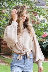 Taupe - Tie-Front Cropped Blouse