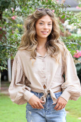 Taupe - Tie-Front Cropped Blouse from Dress Up
