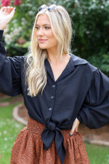 Black - Dress Up model wearing a Tie-Front Cropped Blouse