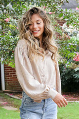 Tie-Front Cropped Blouse in Taupe Front View