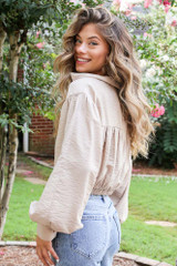 Tie-Front Cropped Blouse in Taupe Side View