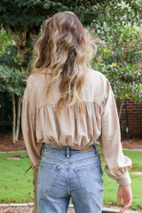 Tie-Front Cropped Blouse in Taupe Back View