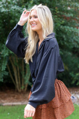 Tie-Front Cropped Blouse in Black Side View