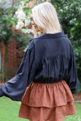Tie-Front Cropped Blouse in Black Back View