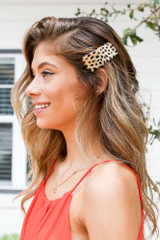 Tan - Spotted Hair Clip
