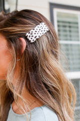 Ivory - Model wearing a Spotted Hair Clip
