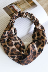 Flat Lay of a Leopard Print Knotted Headband