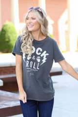 Model wearing a Rock & Roll Graphic Tee