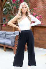 Black - Ribbed Knit Wide Leg Pants from Dress Up