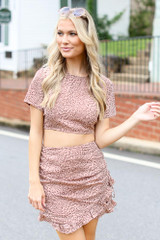Dress Up model wearing a Spotted Open Back Crop Top with the matching mini skirt