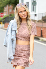 Model wearing a Spotted Ruffled Skirt with the matching crop top