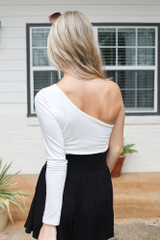 One-Shoulder Crop Top in White Back View