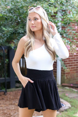 Smocked Shorts in Black Front View