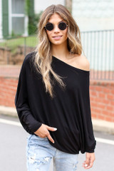 Black - Oversized Asymmetrical Top from Dress Up