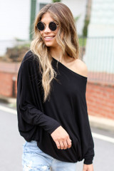 Black - Oversized Asymmetrical Top Front View