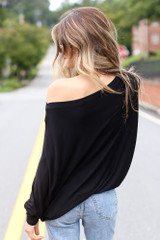 Oversized Asymmetrical Top in Black Back View